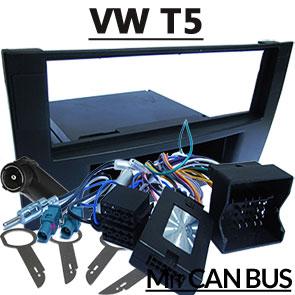 VW-T5-mit-Delta-Radio-Fremdradio-Einbauset-1-DIN-und-Adapter-für-Lenkradfernbedienung