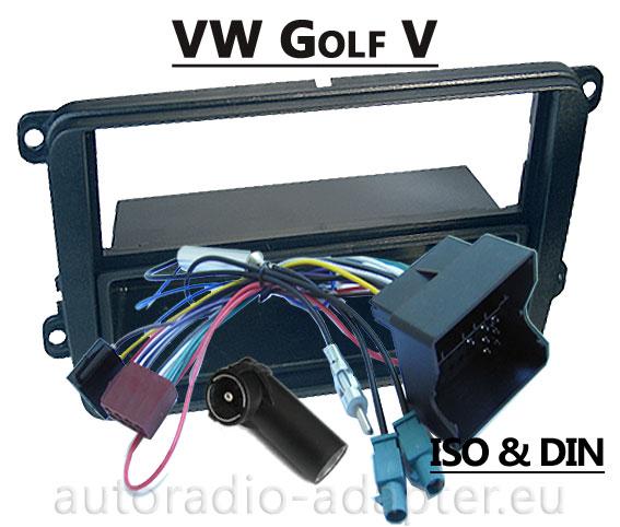 vw golf v radioblende radioadapter din iso autoradio. Black Bedroom Furniture Sets. Home Design Ideas