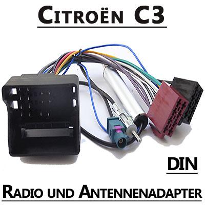 Citroen-C3-Autoradio-Anschlusskabel-DIN-Antennenadapter