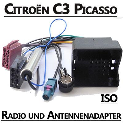 Citroen-C3-Picasso-Radio-Adapterkabel-ISO-Antennenadapter