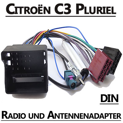 Citroen-C3-Pluriel-Autoradio-Anschlusskabel-DIN-Antennenadapter