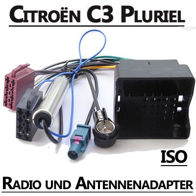 Citroen-C3-Pluriel-Radio-Adapterkabel-ISO-Antennenadapter