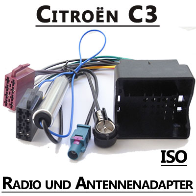 Citroen-C3-Radio-Adapterkabel-ISO-Antennenadapter