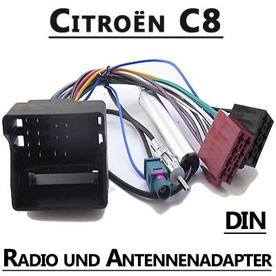 Citroen-C8-Autoradio-Anschlusskabel-DIN-Antennenadapter