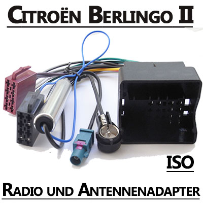 Citroen-Berlingo-II-Radio-Adapterkabel-ISO-Antennenadapter
