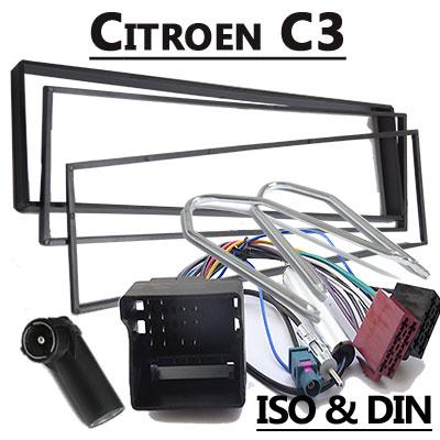 Citroen-C3-Radioeinbauset-mit-Radio-und-Antennenadapter