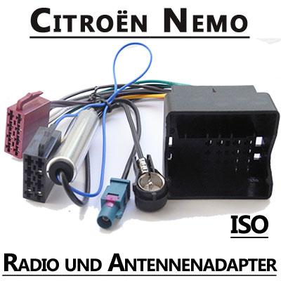 Citroen-Nemo-Radio-Adapterkabel-ISO-Antennenadapter