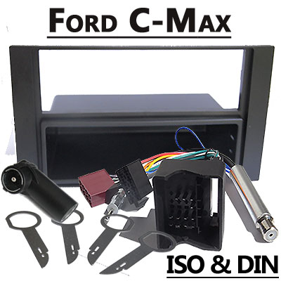 Ford-C-Max-Radioblende-und-Adapter-anthrazit