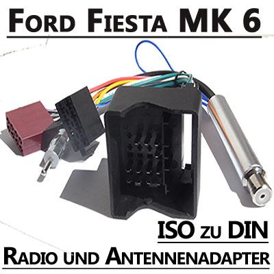 Ford-Fiesta-MK-6-Radio-Anschlusskabel-DIN-Antennenadapter