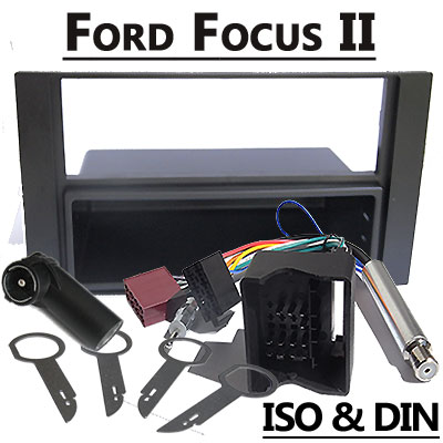 Ford-Focus-II-Radioblende-und-Adapter-anthrazit