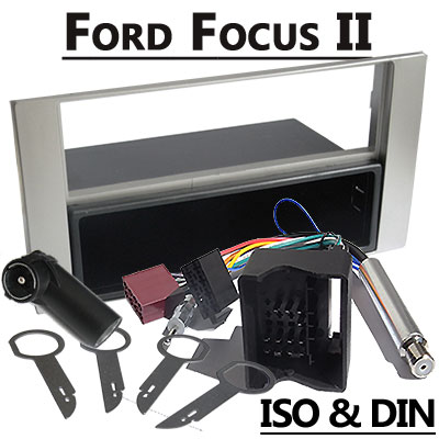 ford focus ii radioeinbauset 1 din mit fach silber. Black Bedroom Furniture Sets. Home Design Ideas