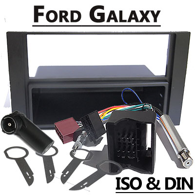 Ford-Galaxy-Radioblende-und-Adapter-anthrazit