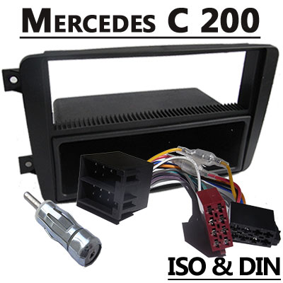 Mercedes-Benz-C-200-Autoradio-Einbauset-1-DIN-mit-Fach