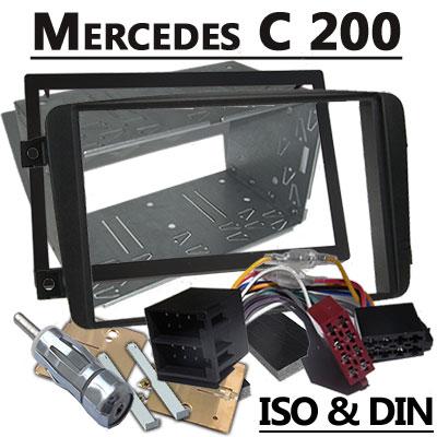 Mercedes-Benz-C-200-Autoradio-Einbauset-Doppel-DIN