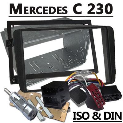 Mercedes-Benz-C-230-Autoradio-Einbauset-Doppel-DIN