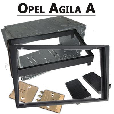 Opel-Agila-A-Doppel-DIN-Radio-Einbaurahmen-dunkelsilber