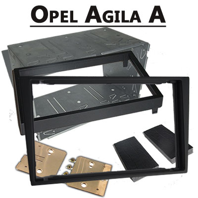 Opel-Agila-A-Doppel-DIN-Radio-Einbaurahmen-schwarz