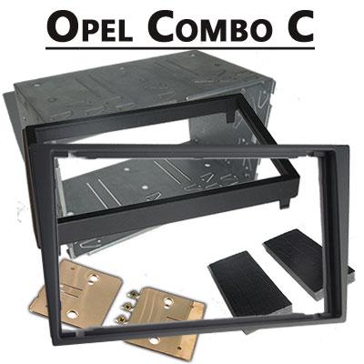 Opel-Combo-C-Doppel-DIN-Radio-Einbaurahmen-dunkelsilber