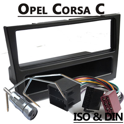 opel corsa c autoradio einbauset 1 din mit fach schwarz. Black Bedroom Furniture Sets. Home Design Ideas