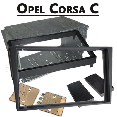 Opel-Corsa-C-Doppel-DIN-Radio-Einbaurahmen-dunkelsilber