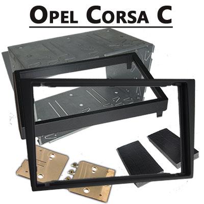 Opel-Corsa-C-Doppel-DIN-Radio-Einbaurahmen-schwarz