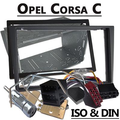Opel-Corsa-C-Radioeinbauset-Doppel-DIN-dunkelsilber