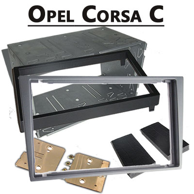 Opel-Corsa-C-Radioeinbauset-Doppel-DIN-hellsilber