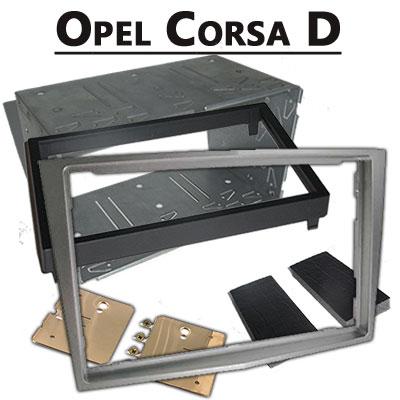 Opel-Corsa-D-Doppel-DIN-Radio-Einbaurahmen-dunkelsilber