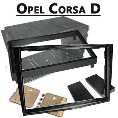 Opel-Corsa-D-Doppel-DIN-Radio-Einbaurahmen-schwarz