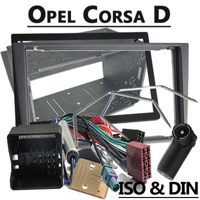 Opel-Corsa-D-Radioeinbauset-Doppel-DIN-dunkelsilber