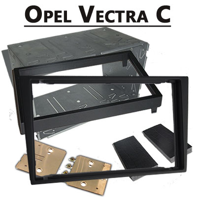 Opel-Vectra-C-Doppel-DIN-Radio-Einbaurahmen-schwarz
