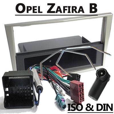 Opel-Zafira-1-DIN-Radio-Einbauset-hellsilber-mit-Fach