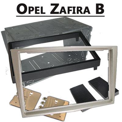 Opel-Zafira-B-Doppel-DIN-Radio-Einbaurahmen-Champagne
