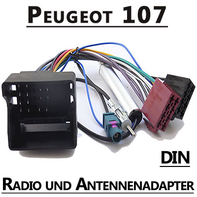 Peugeot-107-Autoradio-Anschlusskabel-DIN-Antennenadapter