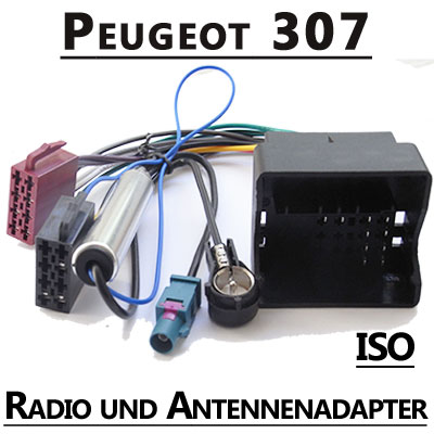 Peugeot-307-Radio-Adapterkabel-ISO-Antennenadapter
