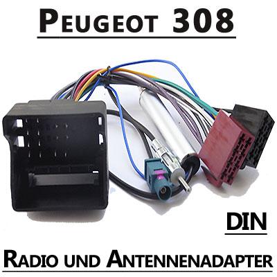 Peugeot-308-Autoradio-Anschlusskabel-DIN-Antennenadapter