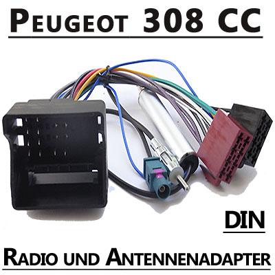 Peugeot-308-CC-Autoradio-Anschlusskabel-DIN-Antennenadapter