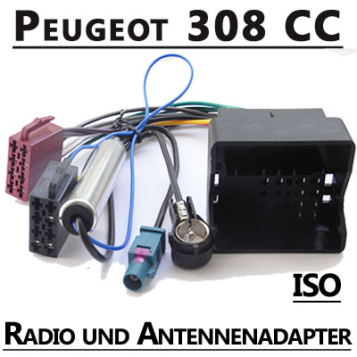 Peugeot-308-CC-Radio-Adapterkabel-ISO-Antennenadapter