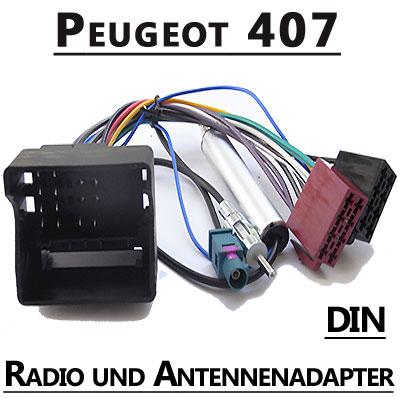 Peugeot-407-Autoradio-Anschlusskabel-DIN-Antennenadapter