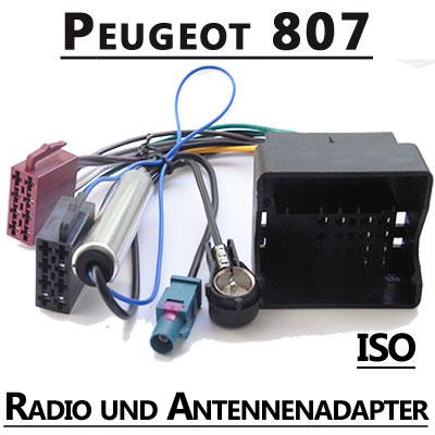 Peugeot-807-Radio-Adapterkabel-ISO-Antennenadapter