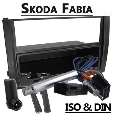Skoda-Fabia-I-Autoradio-Einbauset-1-DIN-mit-Fach