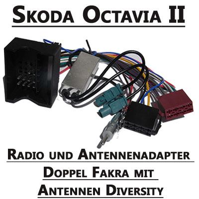 Skoda-Octavia-Radio-und-Antennenadapter-doppel-Fakra-mit-Antennen-Diversity