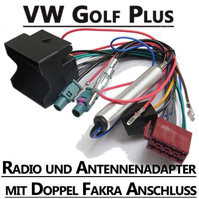 VW-Golf-Plus-Radio-und-Antennenadapter-doppel-Fakra-mit-Phantomspeisung
