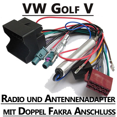 VW-Golf-V-Radio-und-Antennenadapter-doppel-Fakra-mit-Phantomspeisung