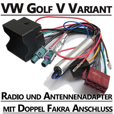 VW-Golf-V-Variant-Radio-und-Antennenadapter-doppel-Fakra-mit-Phantomspeisung