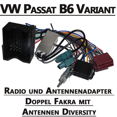 VW-Passat-B6-Variant-Radio-und-Antennenadapter-doppel-Fakra-mit-Antennen-Diversity