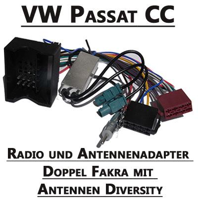 VW-Passat-CC-Radio-und-Antennenadapter-doppel-Fakra-mit-Antennen-Diversity