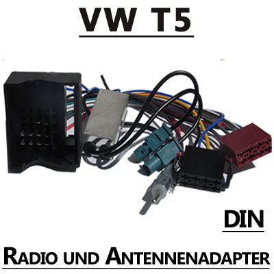 vw t5 radio adapterkabel mit antennen diversity din. Black Bedroom Furniture Sets. Home Design Ideas