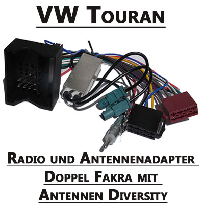 vw touran radioeinbauset 2 din mit antennen diversity. Black Bedroom Furniture Sets. Home Design Ideas