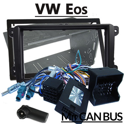 VW-Eos-Lenkradfernbedienung-mit-Autoradio-Einbauset-Doppel-DIN